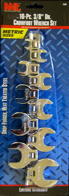 """New MIT 10-Pc. 3/8"""" Dr. MM Crowfoot Wrench Set #2580"""