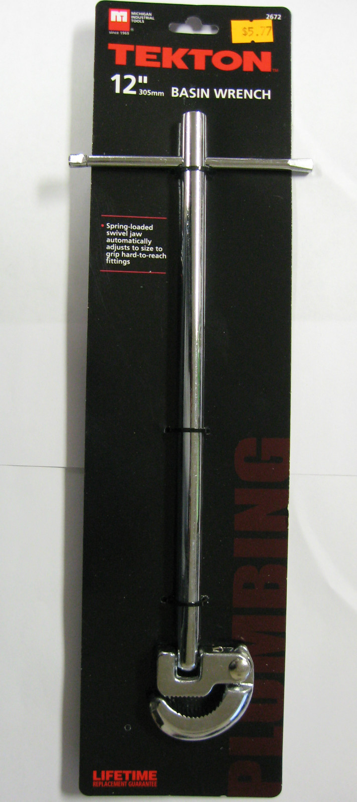 """New MIT 12"""" Basin Wrench Spring-Loaded Swivel Jaw #2672"""