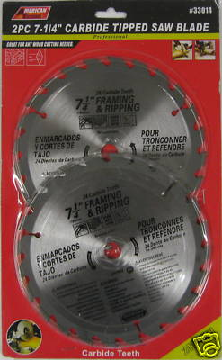 """New ATE 2pc 7-1/4"""" 24T Carbide Tip Saw Blade 8000 RPM #33014"""