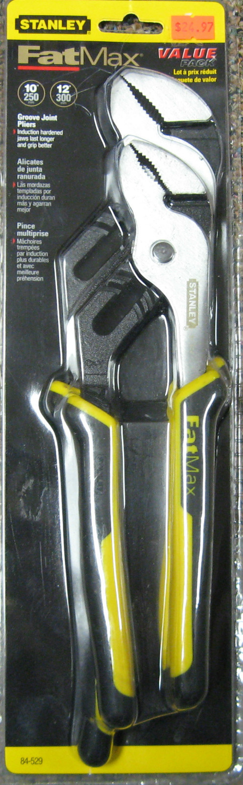 """New 2 Pc Stanley Fat Max 10"""" & 12"""" Groove Joint Pliers #84-529"""