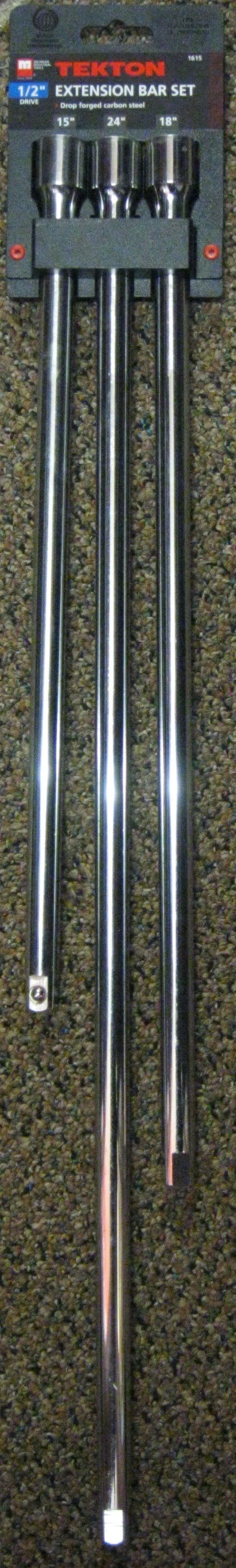 """New MIT 3 Pc 1/2"""" Dr Long Ext. Bars 15"""", 18"""", 24"""""""