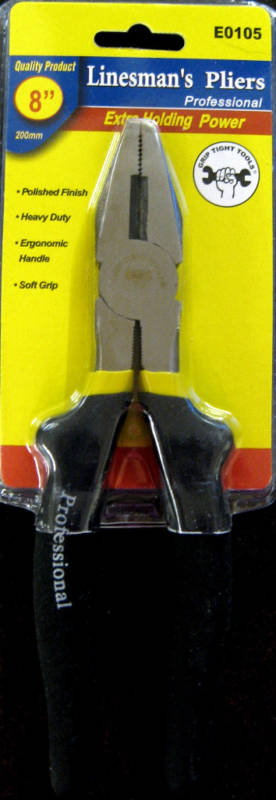"""New Grip Tight Tools 8"""" Linesman's Pliers #E0105"""