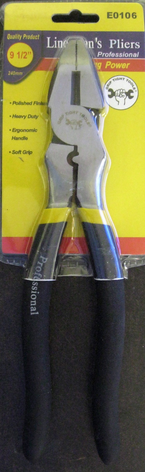 """New Grip Tight Tools 9-1/2"""" Linesman's Pliers #E0106"""