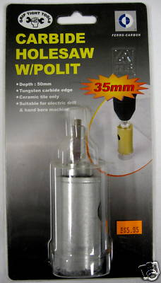 New GripTight Tools 35mm Carbide Holesaw With Polit #S1506